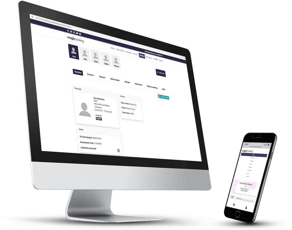 Magicbooking schools booking system on multiple devices